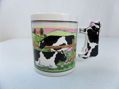 Cow Collectible Coffee Mug Farm Land Split Rail Fence Milking Cow Handle Japan