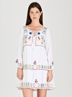 Embroidered Longsleeve Dress White