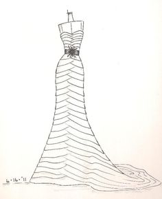 custom gown sketch, great gift for anniversary or shower. $89.00, via Etsy.