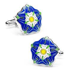 Blue Tudor Rose Cufflinks by Cufflinksman