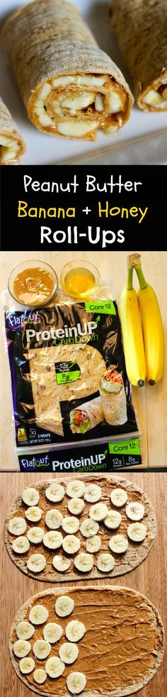 Peanut Butter Banana + Honey Roll-Ups: high protein using new Flatout higher protein flatbreads