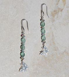 Sterling Silver fluorite earrings, sterling silver butterfly charm earrings, sterling silver filigree earrings, Swarovski butterfly earrings by KarmaKittyJewelry on Etsy