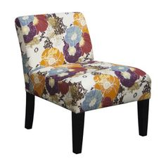 Multicolored Fabric Armless Floral Accent Chair - 18775154 - Overstock.com Shopping - Great Deals on Living Room Chairs