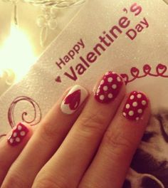 heart nails, valentine nail art, polka dots, valentine day, nail art designs, nail art ideas, valentine nails, nail design, nail idea