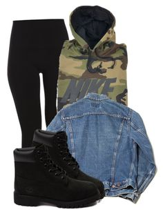 """Rainy day"" by schmeqann ❤ liked on Polyvore featuring Pieces, NIKE and Timberland"