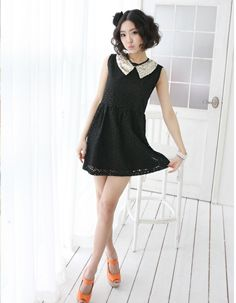 floral eyelet lace gathered waist shift dress  CODE: MGM832  Price: SG $110.40 (US $89.03)