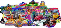 Hot Rod Diner Shaped Jigsaw Puzzle 600 Pieces