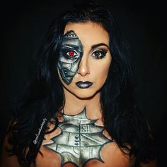 I wasn't planning on doing any makeup tonight, but I wanted to quickly try out a face design I'm doing for a client on Halloween. I obviiii had to add a quick chest piece  @raeofsunshinebeauty #hobhalloween