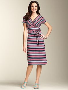 Talbots - Stripe Wrap Dress   Dresses   Misses love the interest they added with the stripes.
