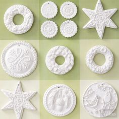 Delightfully detailed, these snowy-white ornaments take just minutes to make. Simply press air-dry clay onto Christmas cookie molds to imprint natural motifs and seasonal shapes. Trim as needed, and add holes at the top of each before drying. To hang, thread a ribbon or string through each hole.