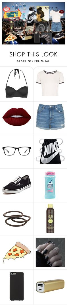 """Warped Tour '16"" by alyssab3773 ❤ liked on Polyvore featuring Topshop, Lime Crime, Joseph Marc, NIKE, Vans, Goody, Nikon, Sun Bum, Tattly and Case-Mate"