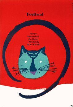 """Polish Festival Poster by Henryk Tomaszewski, 1958, """"Festiwal Filmow Radzieckich Dla Dzieci I Milodziezy""""."""