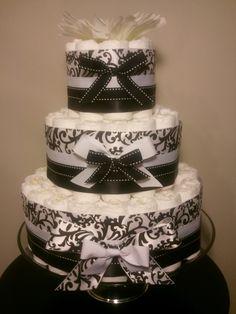 bows on the cakes  Google Image Result for http://atlantadiapercakes.files.wordpress.com/2011/05/atlanta-diaper-cakes-option-b-black-and-white-damask-cake-006.jpg%3Fw%3D675