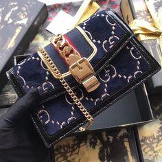 Gucci Sylvie GG Velvet Small Chain Bag 494642 Blue 2018 Gucci Handbags Sale, Gucci Sylvie, Blue Bags, Kylie Jenner, Velvet, Chain, Mini, Lifestyle, Necklaces