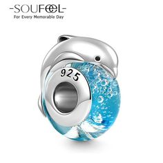 Soufeel Jumping Dolphin Murano Glass Bead 925 Sterling Silver,Our Murano Italian Beads are 100% genuine Italian Glass Beads. charm fits all Silver Basic bracelets. Marine life makes us have more imagine.