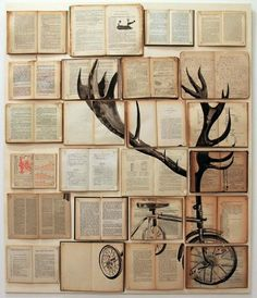 Wall Art Decor: Paper Unique Book Page Wall Art Design Home Decoration Bicycle Tree Abstract Interior Altered Ekaterina Painting, Amusing wall art pictures which are so unique Book Theme Decor Wall Art with Books Book Themed Wall Art Art Diy, Diy Wall Art, Wall Decor, Illustration Arte, Book Wall, Inspiration Art, Inspirational Wall Art, Art Plastique, Vintage Books