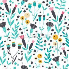 ダウンロード - シームレスな明るい北欧花柄、ベクトル イラスト — ストックイラストレーション #100095794