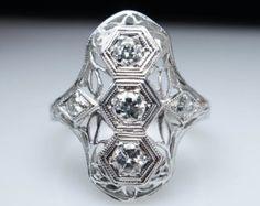 Unique Art Deco Diamond Ring Vintage Engagement Ring Wedding Ring 1920s Ring 1930s Vintage Engagement Antique Diamond Cocktail Ring