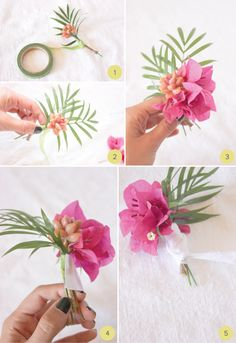 i got some of this greenery in the yard Tropical-Inspired Boutonniere DIY