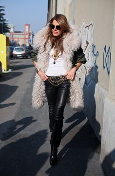 feathers flying. AdR in Milan. #AnnaDelloRusso