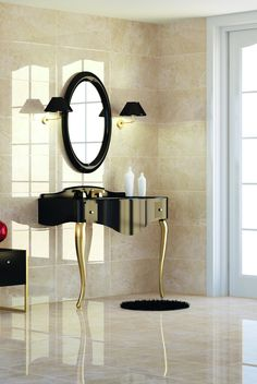 This large marble effect tile has a glossy finished, It can be used to create a glamorous look in any room and has an almost mirror like look when light is shining on it, as shown here.