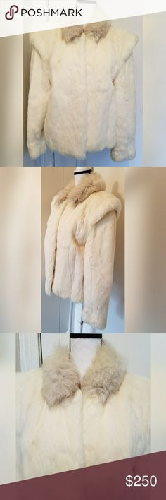 Rabbit Fur White Coat Shoulder Pads Glam Size S Genuine rabbit fur white coat.  In excellent condition. No flaws noted.  Women's size small. True to size.  From a pet/smoke free home.  Ready to wear. unbranded Jackets & Coats