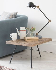 Loaf's textured wooden tripod Gimme side table with industrial metal legs. Perfect for coastal living. Coastal Living Rooms, Living Room Decor, Wooden Side Table, Small Room Design, Comfy Sofa, Layout, Living Room Flooring, Coffee Table Design, Coffee Tables