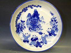 ◆和食器 唐子図唐子模様の大鉢 深皿 盛り皿 大皿中華料理等にも