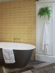 Modern Lattice features an intricate trellis pattern set against a colourful background. There are three colours to choose from, a vibrant yellow, Moroccan blue and a subtle pale grey. 25 tiles per square metre. Sold in boxes of Encaustic PSV. Bathroom Sink Decor, Ikea Bathroom, Bathroom Organization, Organization Ideas, Bathroom Ideas, Lush, Tiny House Bathroom, Family Bathroom, Yellow Tile
