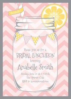 Bridal Shower Invitation, Mason Jar, Lemonade, Chevrons - Lemonade Design Studio, Etsy