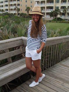 Nautical #stripedshirt #whiteshorts #superga #beachattire @Nordstrom