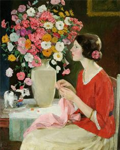 Young Girl Knitting - Oil Painting by Karl Albert Buehr.