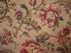 1-25-Yards-Mill-Creek-Fabric-Gold-Floral-Print-Drapery-Upholstery