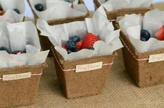 Use seed starter pots (from Lowes) to make berry baskets.