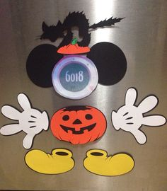 Disney halloween pumpkin Mickey Mouse laminated cruise stateroom door magnet  set