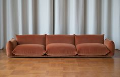 The Marenco sofa was designed in 1970 by Mario Marenco. The sofa features a fully removable cover system. Base in multi plywood with fibre cover. Backrests and armrests: main structure in metal. Sofa Design, Design Furniture, Sofa Furniture, Living Room Furniture, Interior Design, Furniture Market, Furniture Dolly, Furniture Layout, Furniture Outlet