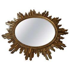 Antique Italian Giltwood Sunburst Mirror 1