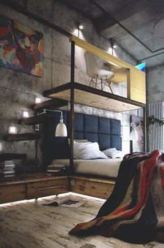 We love the idea of having a loft above a bed with a wide open view to the rest of the bedroom. The design is as impeccable as it is modern and doubles as a man cave.