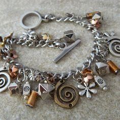 Metal Madness Charm Bracelet by WireNWhimsy on Etsy, $40.00