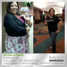 Aileen perdió 64lbs con el Reto de los 90 días. #AceptaElReto #Transformación #Antes/Después #ViLife #PerdidadePeso