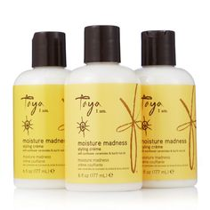 231939 Taya Moisture Madness Styling Creme Trio QVC Price: £22.00 + P&P: £4.95 A trio of the Moisture Madness Styling Creme from Taya, a super hydrating formula with sunflower ceramides and buriti nut oil, designed to style your hair and keep a light hold, whilst also helping to retain moisture. Creates a silky, movable and bouncy style with this trio of luscious haircare products.