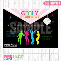 Hip Hop DANCE PARTY Birthday Party INVITATION by PinkPickleParties, $10.00