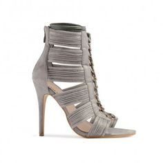 Celia Lace Up High Heels in Grey Faux Suede