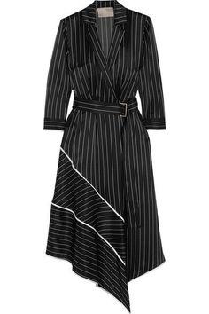 Джейсон Ву | асимметричная полосатый шелк-шармез платье миди | NET-A-PORTER.COM