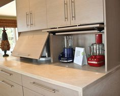 Flip up kitchen cabinet door for organize appliances