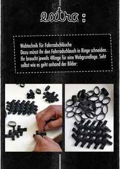 weaving with bike tube ... seen on: Wie macht man Fahrradschlauchtäschchen? | Ding des Monats | Verbund Offener Werkstätten