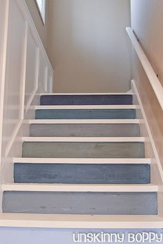It's never easy to try and come up with cool ways to optimize your stairs and make them cooler. Here are best painted stairs ideas for you new home Painted Staircases, Painted Stairs, Staircase Painting, Stained Staircase, Painted Wood, Basement Stairs, House Stairs, Redo Stairs, Attic Stairs
