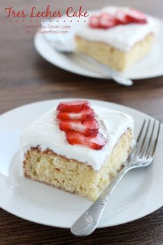 Tres Leches Cake is a traditional Mexican chiffon cake soaked with 3 milks. Topped with freshly whipped cream and sliced strawberries, this three milk cake is incredibly moist and enjoyable.