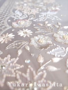 Yukari Iwashita | オートクチュール刺繍 Couture Embroidery, Beaded Embroidery, Lesage, Bargello, Scarfs, Affair, Needlework, Embellishments, Beading