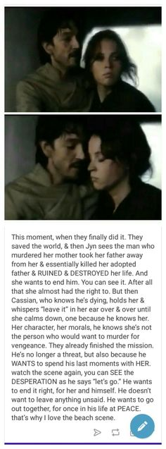 Why Cassian and Jyn are perfect for each other<<< *cries forever* jk not forever... just for a really, really long time.